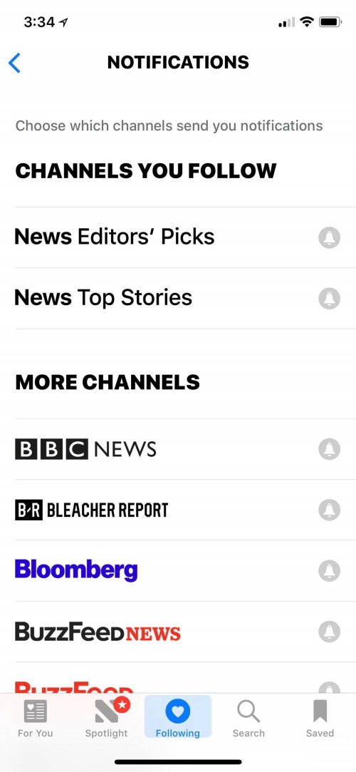 follow channels in apple news