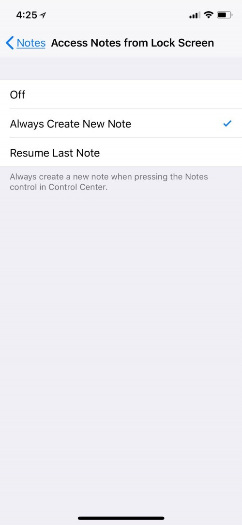 access notes on lock screen