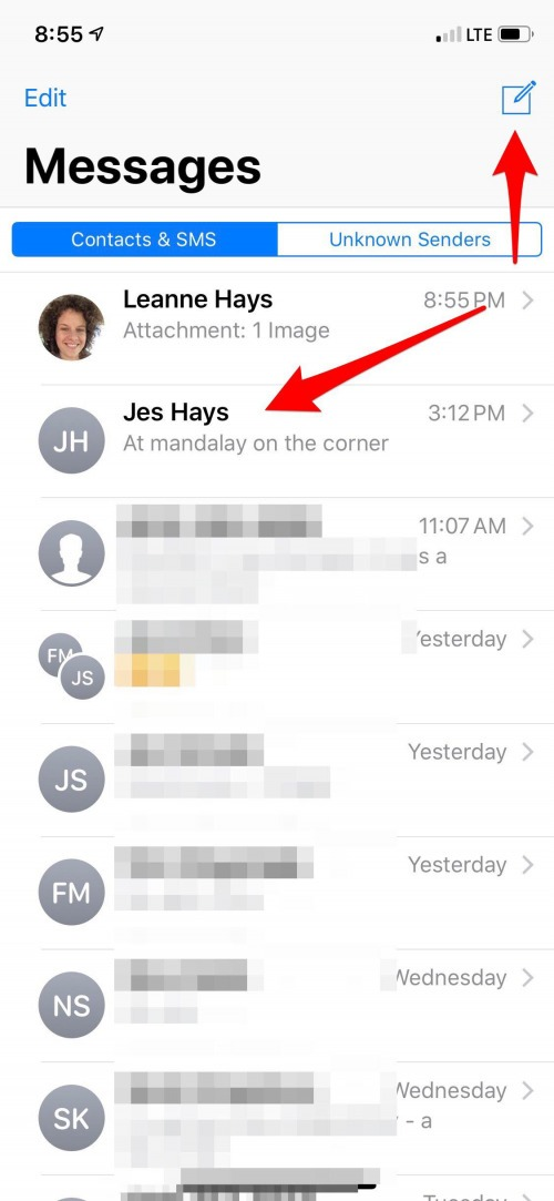 how to start a new text message thread on iphone