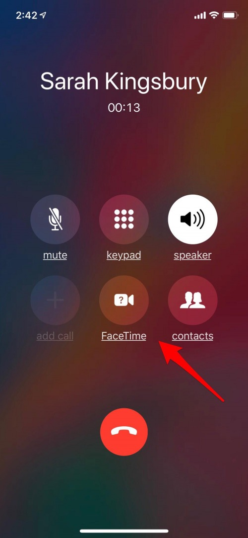 change from phone call to facetime on iphone