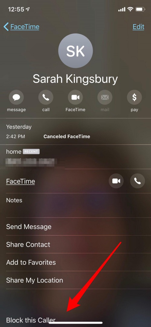 how to block a number on iphone from facetime