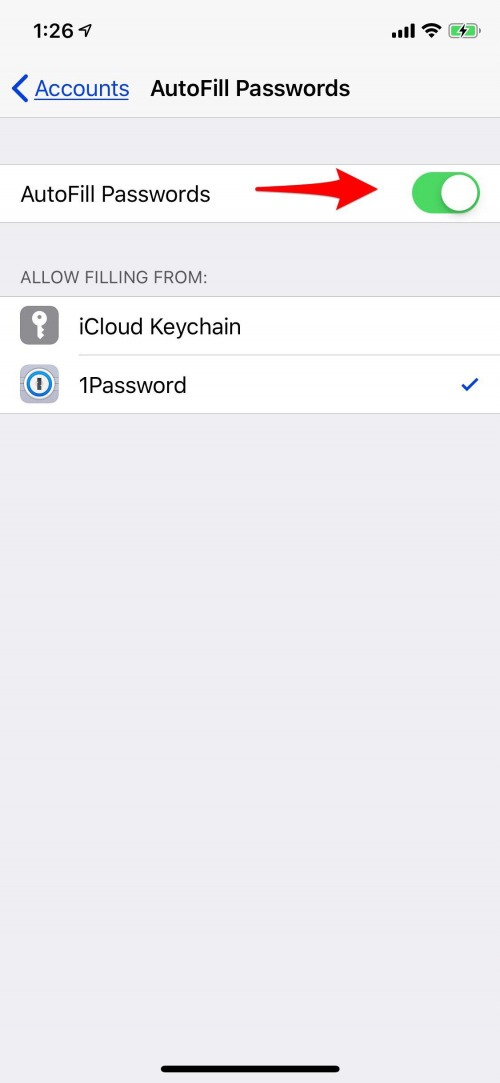 enable password manager on iphone