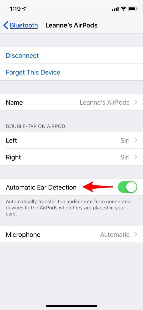 turn off automatic ear detection