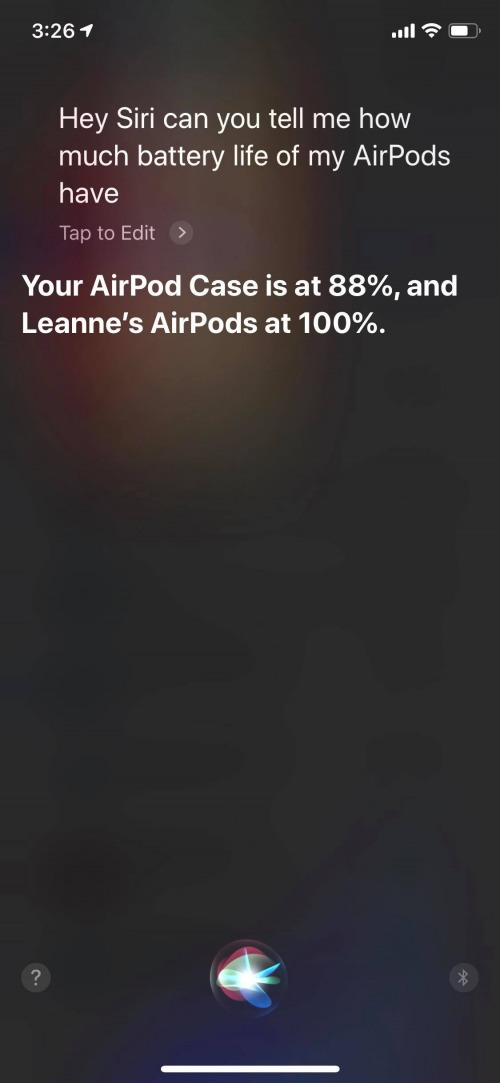 ask siri airpods charge