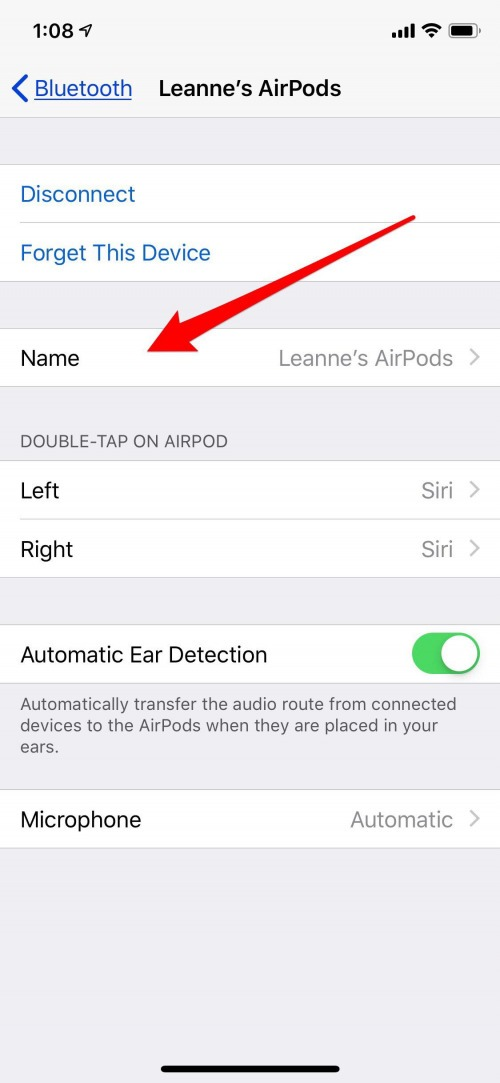 change airpods name