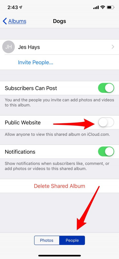 how to share album with android user