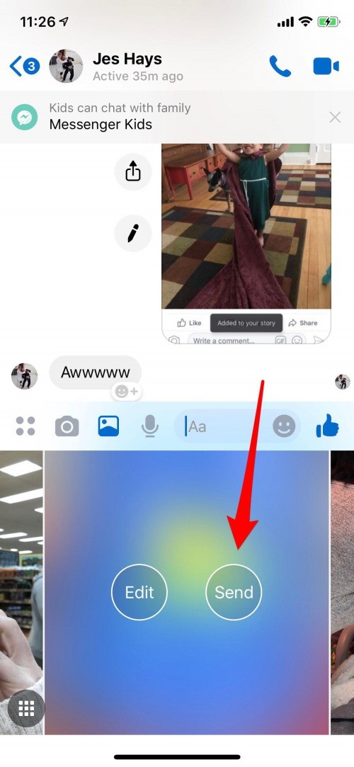 use messenger to send photos