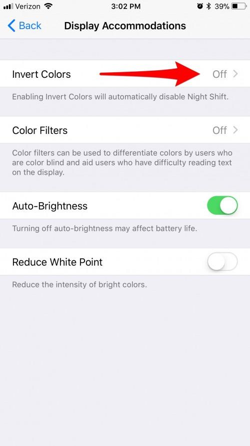 invert colors iphone