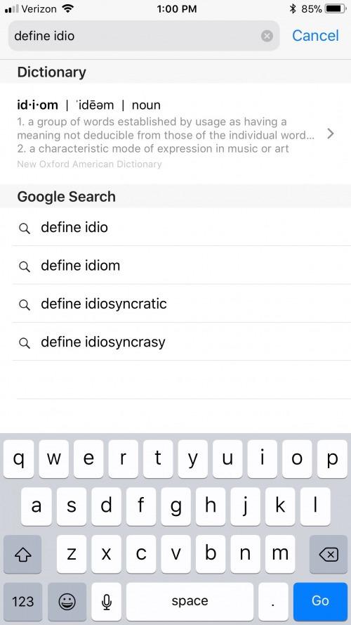 Idiosyncratic definition
