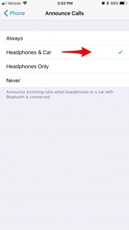 46b237fce42 If you decide to turn this feature off, return to the Announce Calls  settings and choose Never.