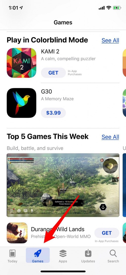 app store games tab