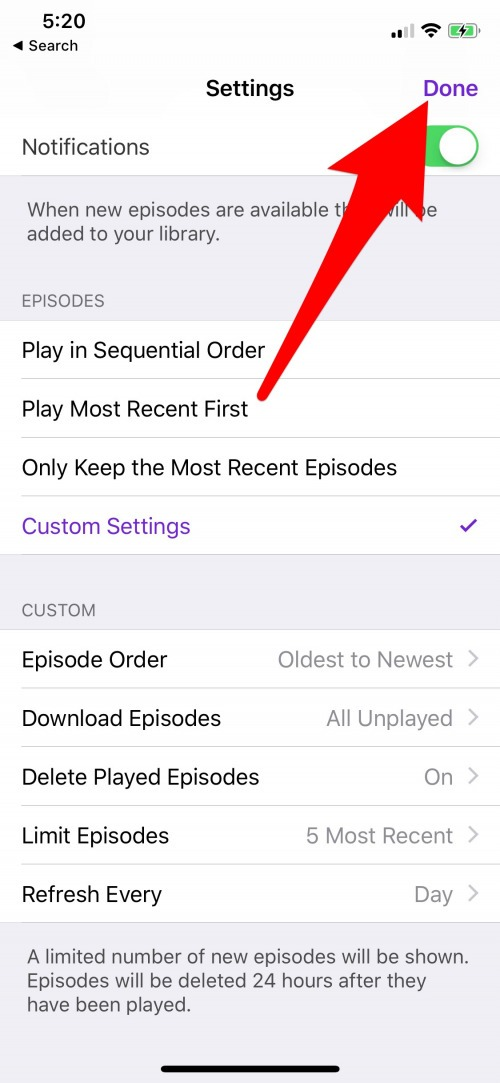How to Limit How Many Podcast Episodes Get Downloaded to
