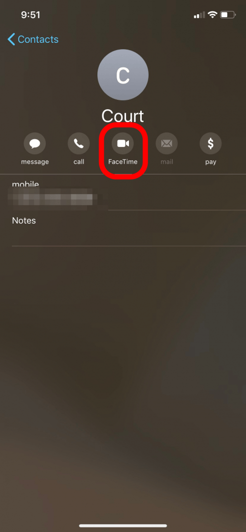 FaceTime option for contact