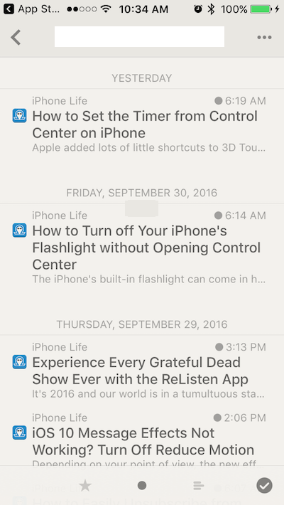 Reeder 3 Articles List View