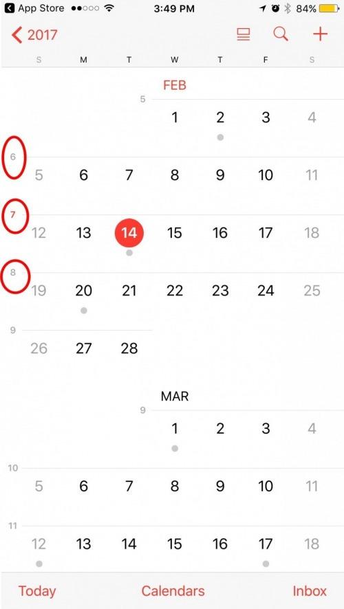 week numbered calendar