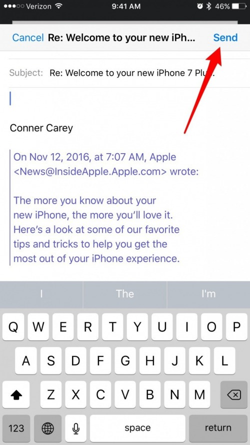 how to send a picture in a reply email on iphone