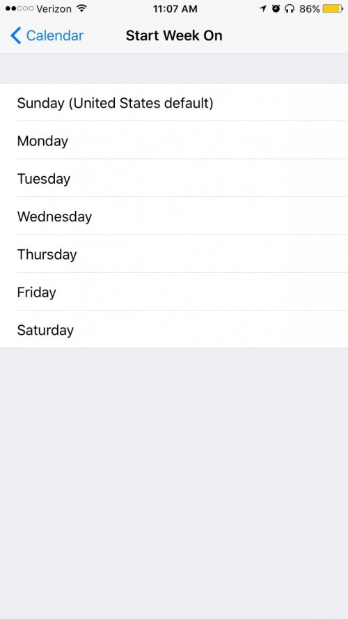How To Change What Day Your Week Starts In The Calendar App On