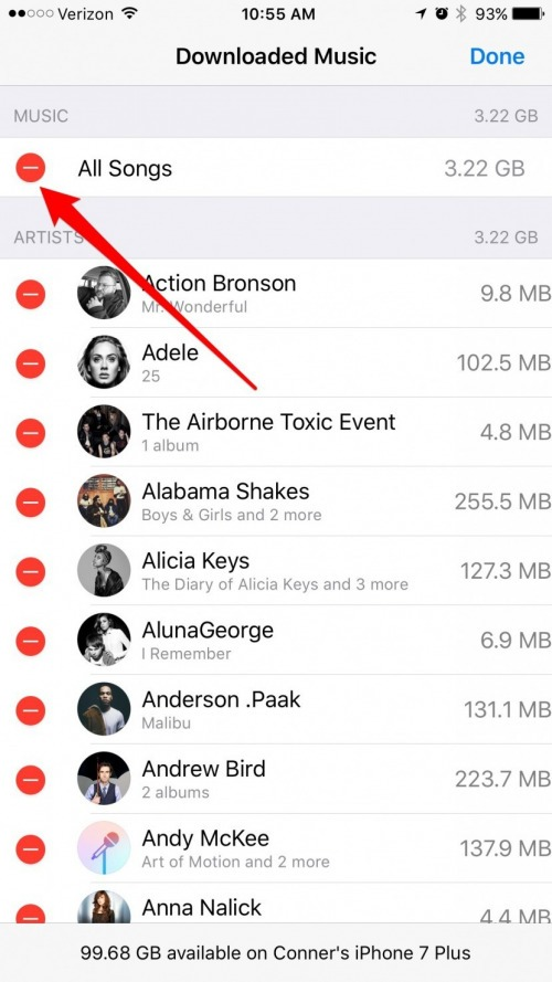 how to delete music from iPhone using iTunes