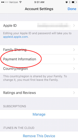 Remove itunes credit card