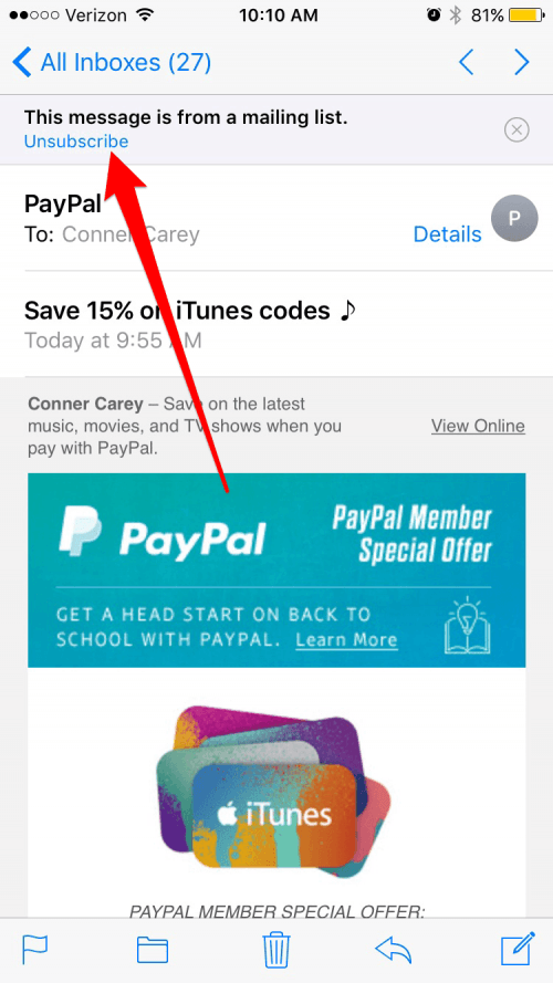 How to unsubscribe from emails on iphone