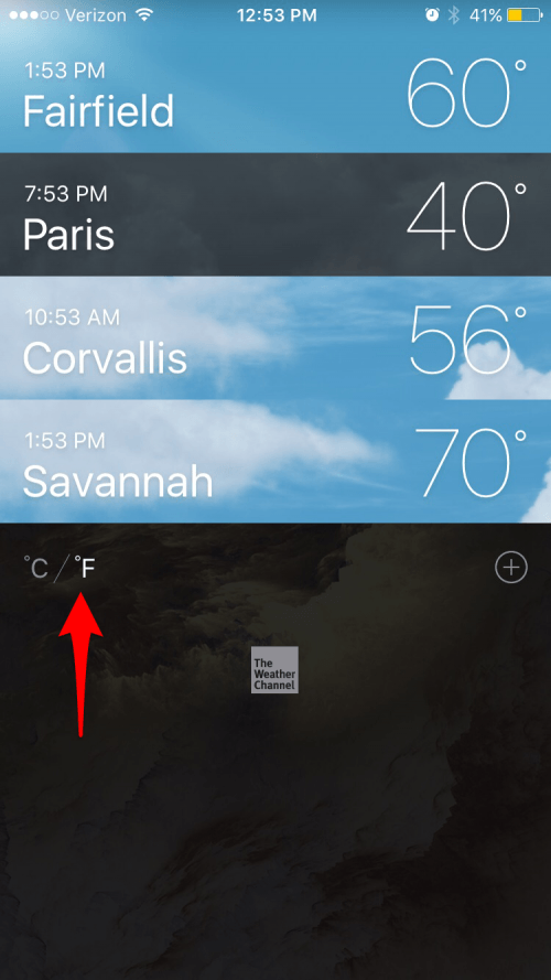how to change weather on iphone