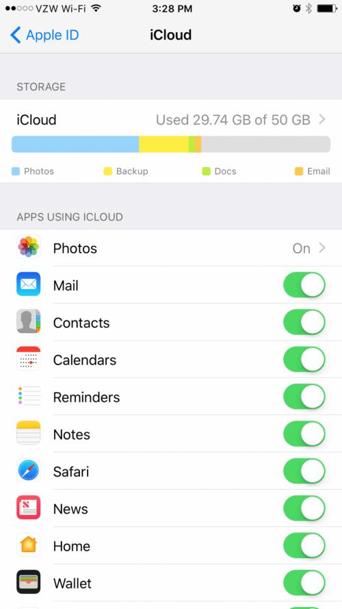 iCloud Analytics iOS 10.3