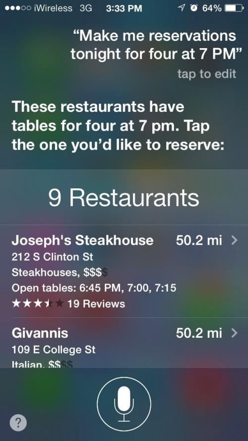 Use Siri to Make a Dinner Reservation
