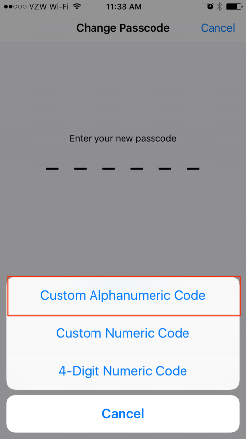 iPhone security settings passcode