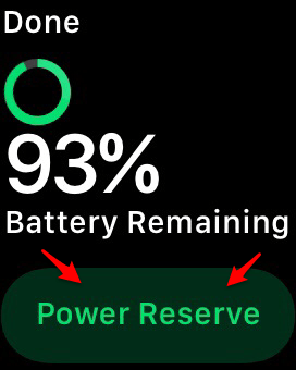 how to turn power reserve off apple wathc