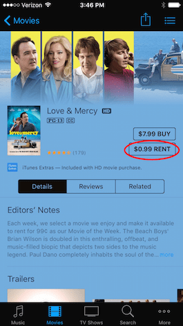 RENTED MOVIE IN ITUNES WATCH ON APPLE TV