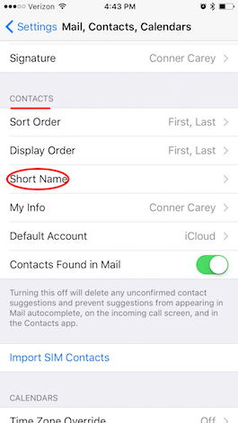 how to change own name on phone contacts