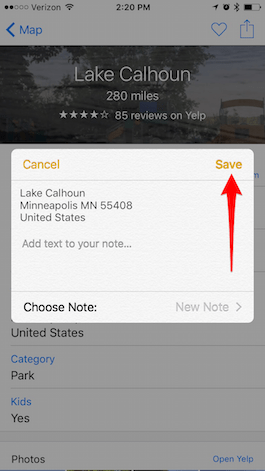 How to Save a Map Location in Notes