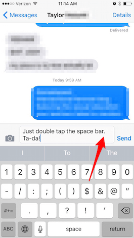 How to Type a Period on the iPhone Keyboard with Only the