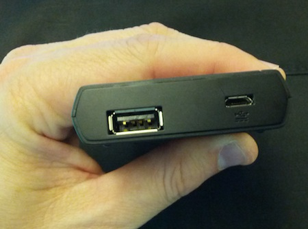 Kingston MobileLite Wireless Side View (USB and microUSB charging ports)