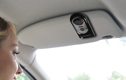 SuperTooth HD attached to car visor