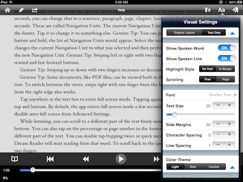 Arranging the look of the text in Voice Dream Reader