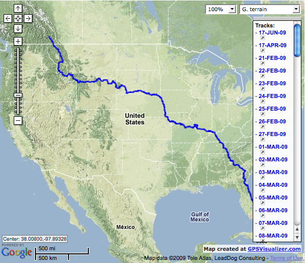 GPS Track of Scott Mullin's ride to Alaska