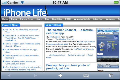 iPhone Life home page, zoomed in