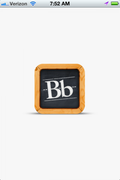 Blackboard Mobile Learn opening screen