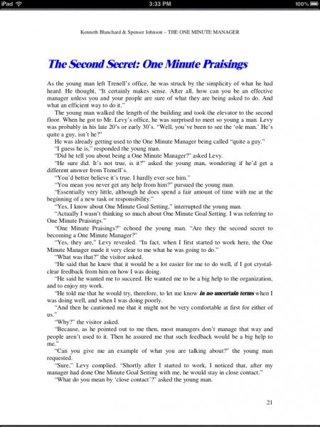 The One Minute Manager's Second Secret