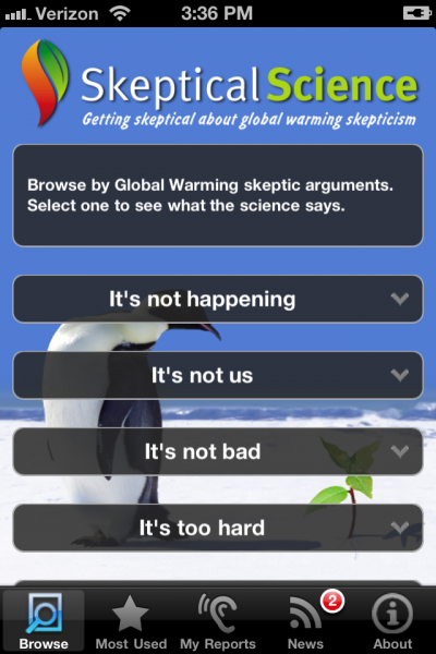 Skeptical Science Home Screen