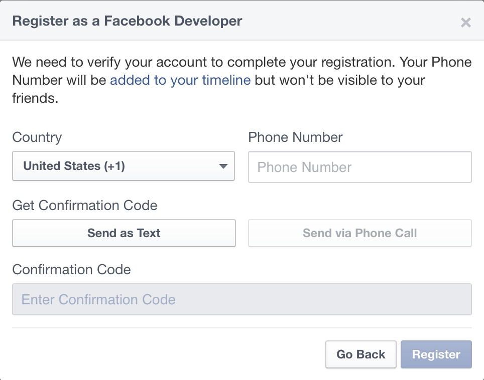 Register as Facebook developer