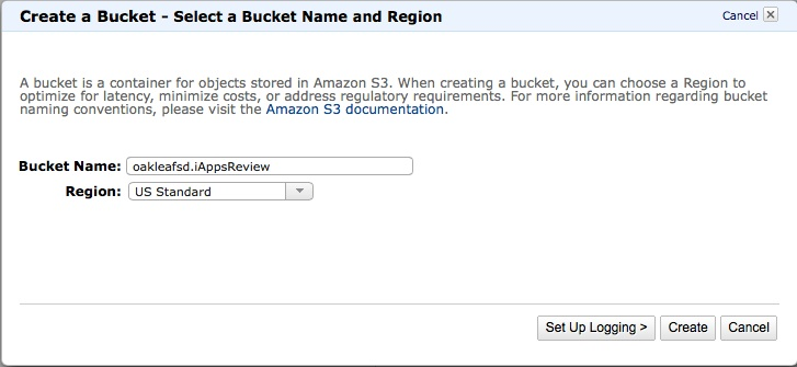 Bucket name and region