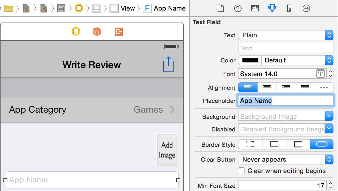 Set text placeholder