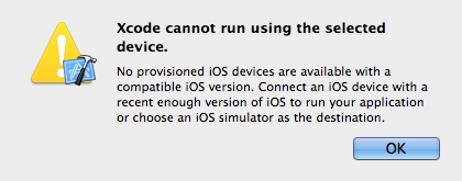 Cannot run using selected device