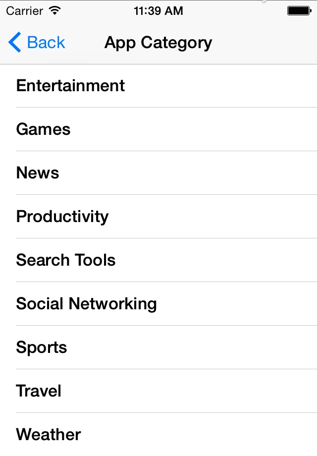 The App Category scene