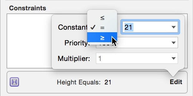 Edit height constraint
