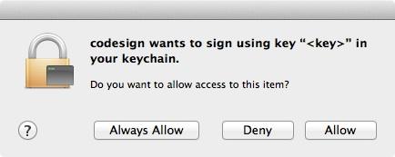 Code sign wants key chain