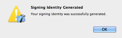 Signing identity generated