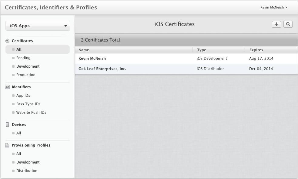 The certificates list